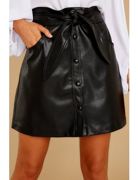 Ready To Go Black Leather Vegan Skirt by Idem Ditto