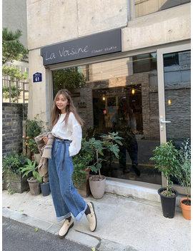 Pleated Wide Leg Jeans by Stylenanda