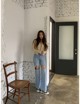 Cutout Thigh Bootcut Jeans by Stylenanda