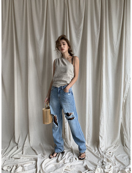Destroyed Long Wide Leg Jeans by Stylenanda