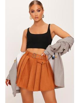 Rust Suede Pleated Skater Mini Skirt by I Saw It First