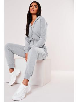 Gray Hooded Zip Up Jumpsuit by Missguided