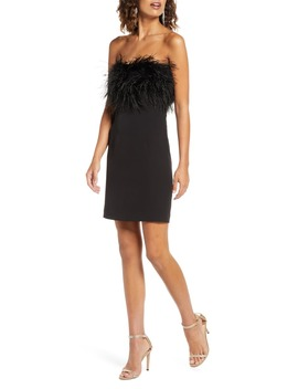 Strapless Feather Neck Cocktail Dress by Bardot
