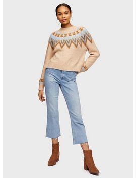 Camel Fairisle Knitted Jumper by Miss Selfridge