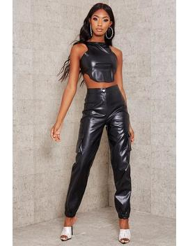 Black Faux Leather Cargo Cuffed Trousers by I Saw It First