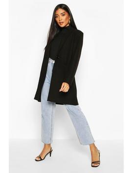 Single Breasted Pocket Detail Wool Look Coat by Boohoo