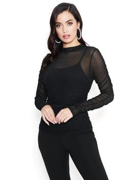 Sparkle Mesh Party Top by Bebe