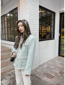 Contrast Trim Button Up Tweed Jacket The Delivery Starts From 26rd Dec. Along With Your Purchase Order!! by Stylenanda