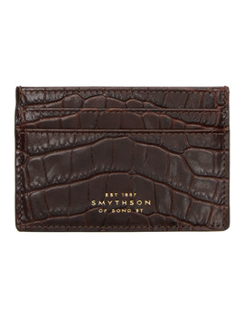 Burgundy Croc Mara Card Holder by Smythson