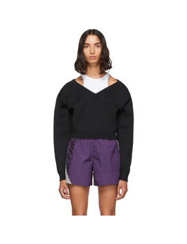 Black Cropped Bi Layer V Neck Sweater by Alexanderwang.T