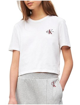 Monogram Embroidery Cropped Tee by Calvin Klein