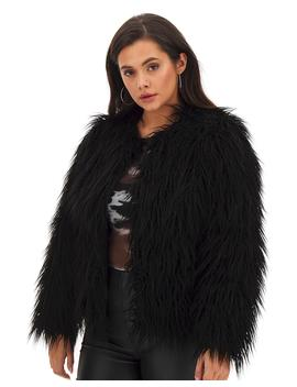 Black Shaggy Fur Coat by Simply Be