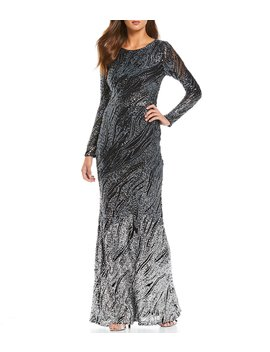 Stretch Allover Sequin Ombre Gown by Betsy &Amp; Adam