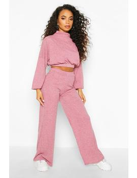 Petite Knitted Rib Top & Wide Leg Loungeset by Boohoo
