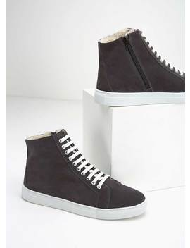 Freya Grey High Top Trainers by Mint Velvet