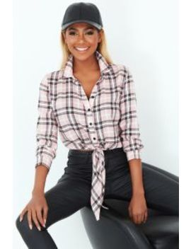 Pink Check Print Tie Front Shirt by Select