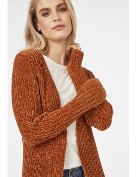 Rounded Hem Chenille Cardigan by Justfab