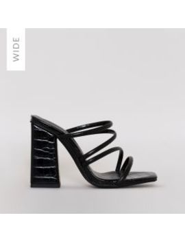 Kamilla Wide Fit Black Croc Strappy Mules by Simmigirl