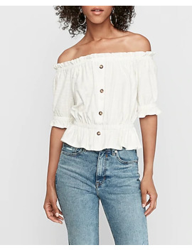 Textured Stripe Off The Shoulder Peplum Top by Express