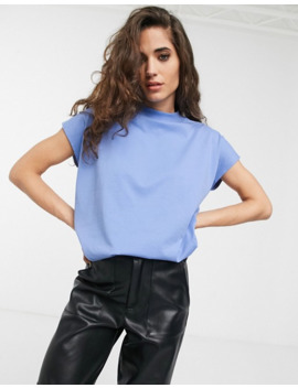 Weekday Prime High Neck T Shirt In Sky Blue by Weekday