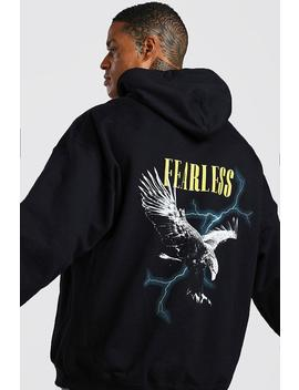 Oversized Eagle Graphic Back Print Hoodie by Boohoo
