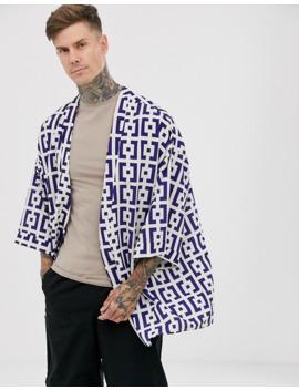 Boohoo Man   Kimono Met Korte Mouwen En Print In Paars by Boohoo Man