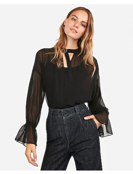 Chiffon D Ring Neck Top by Express