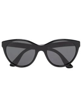 Black Curved Cat Eye Sunglasses by Gucci Eyewear