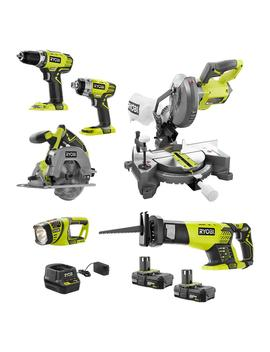 18 Volt One+ Cordless 6 Tool Combo Kit With (2) 2.0 Ah Compact Lithium Ion Batteries And 18 Volt Charger by Ryobi