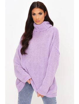 Lilac Soft Touch Knitted Roll Neck Jumper by I Saw It First