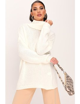 Cream Soft Touch Knitted Roll Neck Jumper by I Saw It First