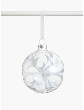 John Lewis & Partners Snowscape Indented Flower Bauble, White by John Lewis & Partners