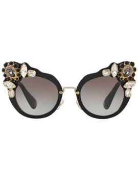 Runway Crystal Embellished Sunglasses by Miu Miu Eyewear