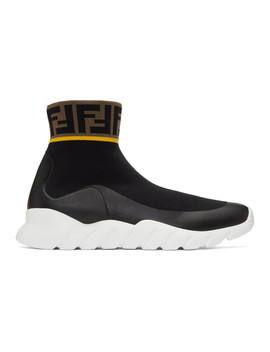 Black & White Tech Knit 'forever Fendi' High Top Sneakers by Fendi