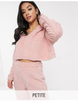 Missguided Petite Co Ord Cropped Borg Hoodie In Pink by Missguided's