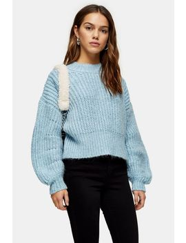 Petite Pale Blue Banana Sleeve Cropped Jumper by Topshop
