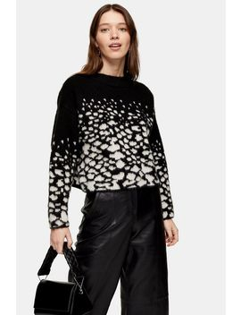 Black Knitted Reverse Snake Sweater by Topshop