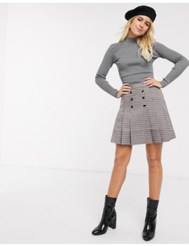 Oasis Kilt Skirt In Brown Houndstooth Check by Oasis