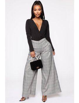 As Planned Plaid Pants   Grey by Fashion Nova