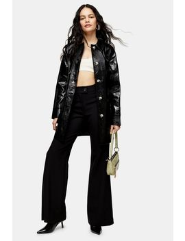 Black Faux Leather Crocodile Shacket by Topshop