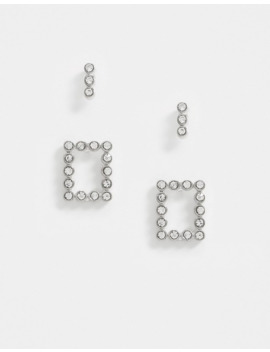 Pieces 2 Pack Diamante Stud Earrings In Silver by Pieces