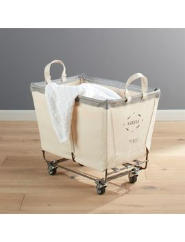 Steele ® Medium Rolling Laundry Basket Canvas by Crate&Barrel