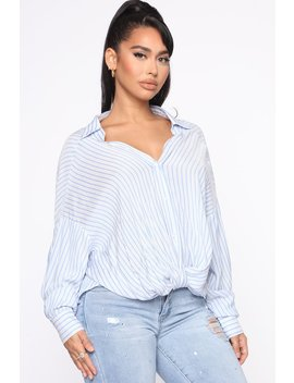 Can't Ignore Me Forever Stripe Top   Blue/Combo by Fashion Nova