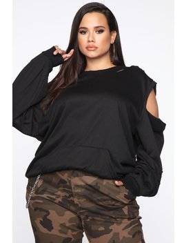 Hudson Distressed Sweatshirt   Black by Fashion Nova