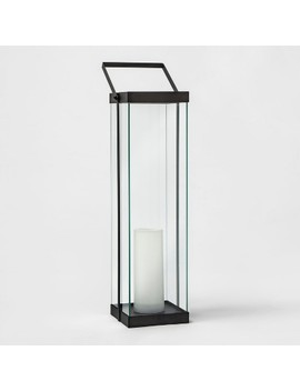 Modern Battery Operated Metal Glass Lantern   Project 62™ by Shop Collections