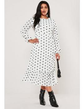 Plus Size White Polka Dot Maxi Smock Dress by Missguided