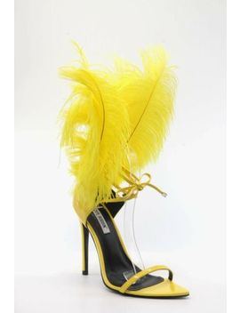 Jazmine   Cape Robbin Detachable Feather Accent Leg Wrap Ankle Tie Sandal Heels by Cape Robbin