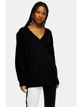 Black Ribbed Longline Knitted Jumper With Cashmere by Topshop