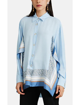 Scarf Accented Silk Crêpe De Chine Blouse by Burberry