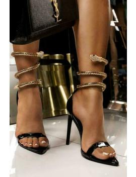 Cape Robbin Nikita Black Patent Ankle Snake Wrap Around Anklet High Heel Sandals by Cape Robbin
